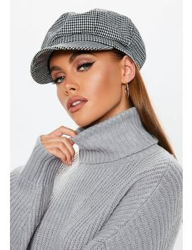 Black Checked Baker Boy Hat by Missguided
