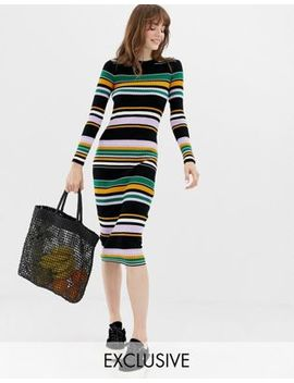 Monki Multi Stripe Midi Knit Dress In Black by Monki