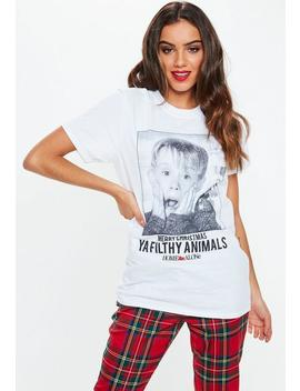 White Home Alone Filthy Animal Graphic T Shirt by Missguided