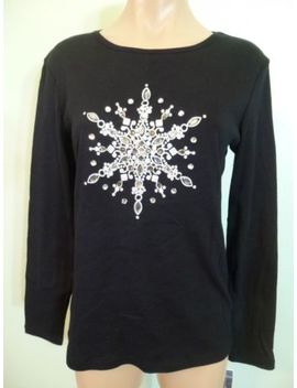 Karen Scott Womens Black Tee Size S Glitter Beaded Long Sleeve Top by Karen Scott