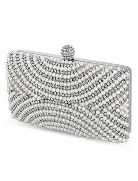 Jon Richard   Silver Pearl And Crystal Embellished Evening Bag by Jon Richard