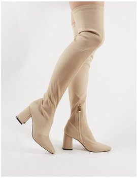 Lexus Over The Knee Boots In Nude by Public Desire
