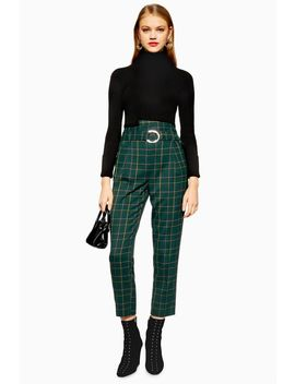 Tall Green Punk Check Trousers by Topshop