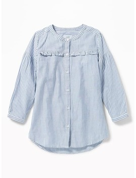 Striped Ruffle Yoke Twill Shirt For Girls by Old Navy
