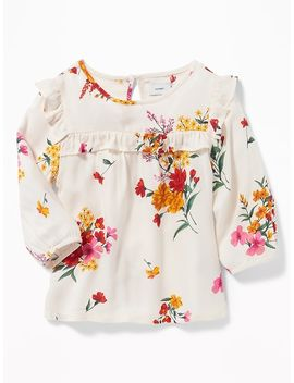 Ruffle Trim Floral Top For Girls by Old Navy