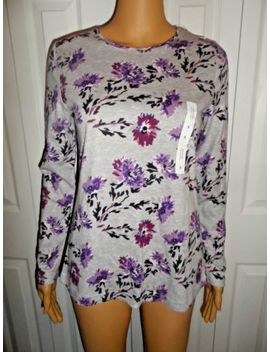 Great Croft & Barrow Sz S Gray Purple Floral Long Sleeve Shirt Ladies Women Nwt by Croft & Barrow