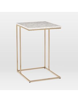 Streamline C Side Table, Marble, Antique Bronze by West Elm