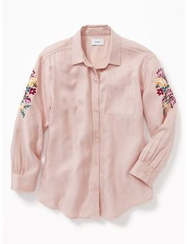 Embroidered Sleeve Boyfriend Tunic Shirt For Girls by Old Navy