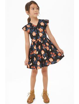 Girls Floral Fit & Flare Dress (Kids) by Forever 21