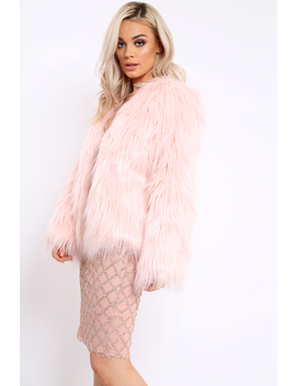 Pink Shaggy Faux Fur Coat   Emilee by Rebellious Fashion