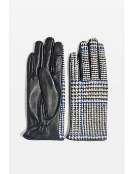 Check Leather Touchscreen Gloves by Topshop