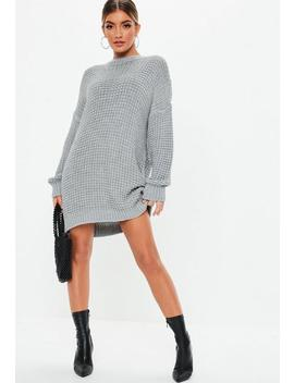 Grey Chunky Knitted Jumper Dress by Missguided