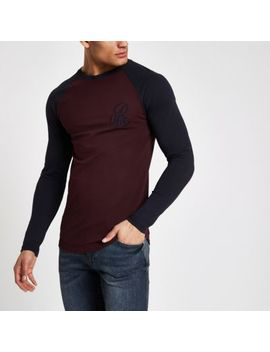 Dark Red 'R96' Muscle Fit Long Sleeve T Shirt by River Island