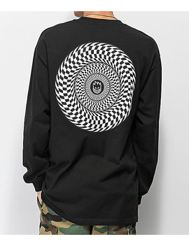 Spitfire Checkered Swirl Black Long Sleeve T Shirt by Spitfire