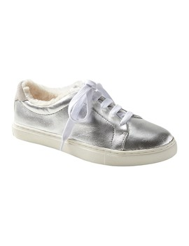 Japan Online Exclusive Essential Silver Sneaker With Faux Fur Lining by Banana Repbulic