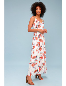 Sweet Surrender White Floral Print Button Up Maxi Dress by Somedays Lovin'