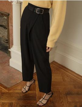 Black Cross Over Belted Pants by Pixie Market