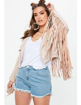 Plus Size Stone Faux Suede Fringed Biker Jacket by Missguided