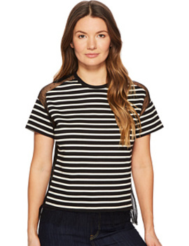 Striped T Shirt With Point D'esprit by Red Valentino