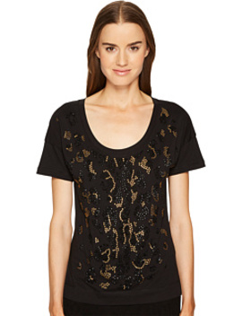 Short Sleeve Animal Placed Embellishments Tee by Just Cavalli