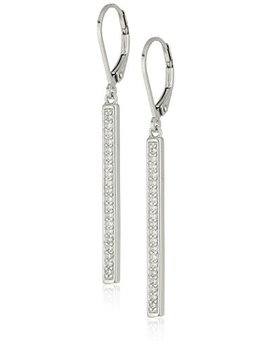 Sterling Silver Cubic Zirconia Vertical Bar Dangle Earrings by Amazon Collection
