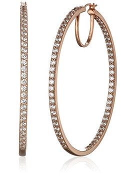 """Platinum Or Gold Plated Sterling Silver Swarovski Zirconia Hoop Earrings, 2"""" Diameter by Amazon Collection"""