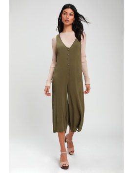Llewyn Olive Green Culotte Jumpsuit by Lulus