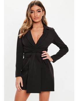 Black Extreme Wrap Belted Blazer Dress by Missguided