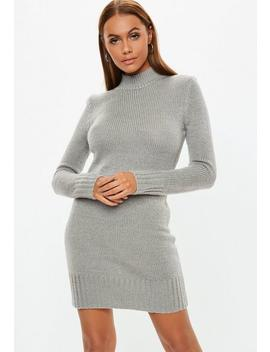 Grey High Neck Jumper Dress by Missguided