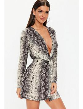 Grey Snake Print Twist Dress by Missguided