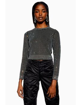 Diamante Crop Top by Topshop