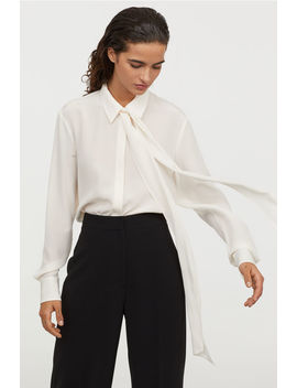 Tie Collar Silk Blouse by H&M