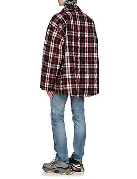 Checked Wool Blend Oversized Shirt Jacket by Balenciaga