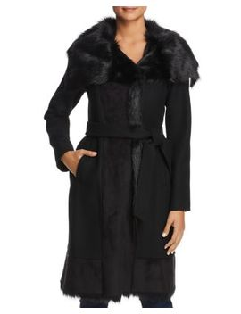 Faux Fur Trim Belted Wrap Coat by Vince Camuto