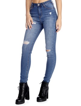 High Waist Lightly Distressed Jeans by Windsor