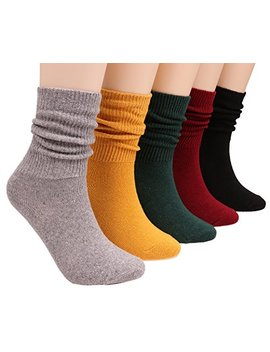 5 Pairs Womens All Season Casual Cotton Knit Crew Socks 5 10 Bz1 by Anchovy