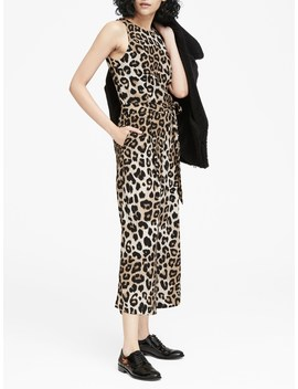 Leopard Print Cropped Wide Leg Jumpsuit by Banana Repbulic