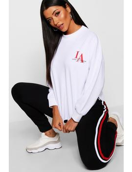 Curved Hem La Slogan Sweat by Boohoo