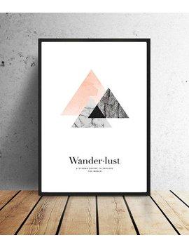 Poster, Wanderlust, Roze/Grijs Of Goud/Zwart, Decoratie, Muurdecoratie, Print, Illustratie, Reizen, Grafisch, Structuren, Abstract by Etsy