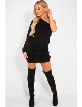 Black One Shoulder Jumper Dress   Liseth by Rebellious Fashion