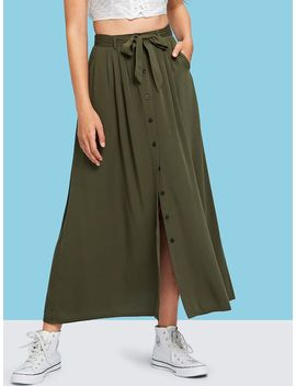 Button & Split Front Belted Solid Skirt by Shein
