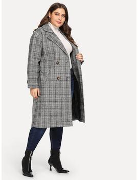 Plus Plaid Double Button Coat by Sheinside