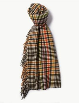 Checked Tassle Scarf by Marks & Spencer