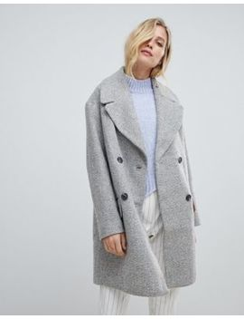 Oasis Double Breasted Tailored Coat In Gray by Oasis