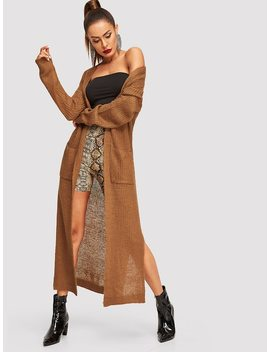 Slit Side Open Front Longline Cardigan by Shein