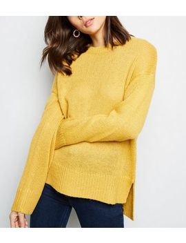 Mustard Longline Step Hem Jumper by New Look
