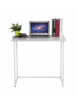 Huisenuk I Shape Folding Office White Computer Desk Table White Simple Small Home Pc Laptop Table Study Desk For Student Wedding Reception Table Meeting Table On Workstation (Folding Table White) by Huisenuk