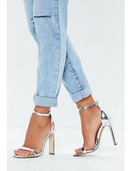 Silver Illusion Heel Barely There Faux Leather Heels by Missguided
