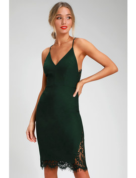 Only Want You Forest Green Lace Bodycon Midi Dress by Lulus