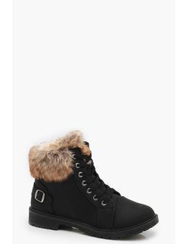 Faux Fur Cuff Hiker Boots by Boohoo